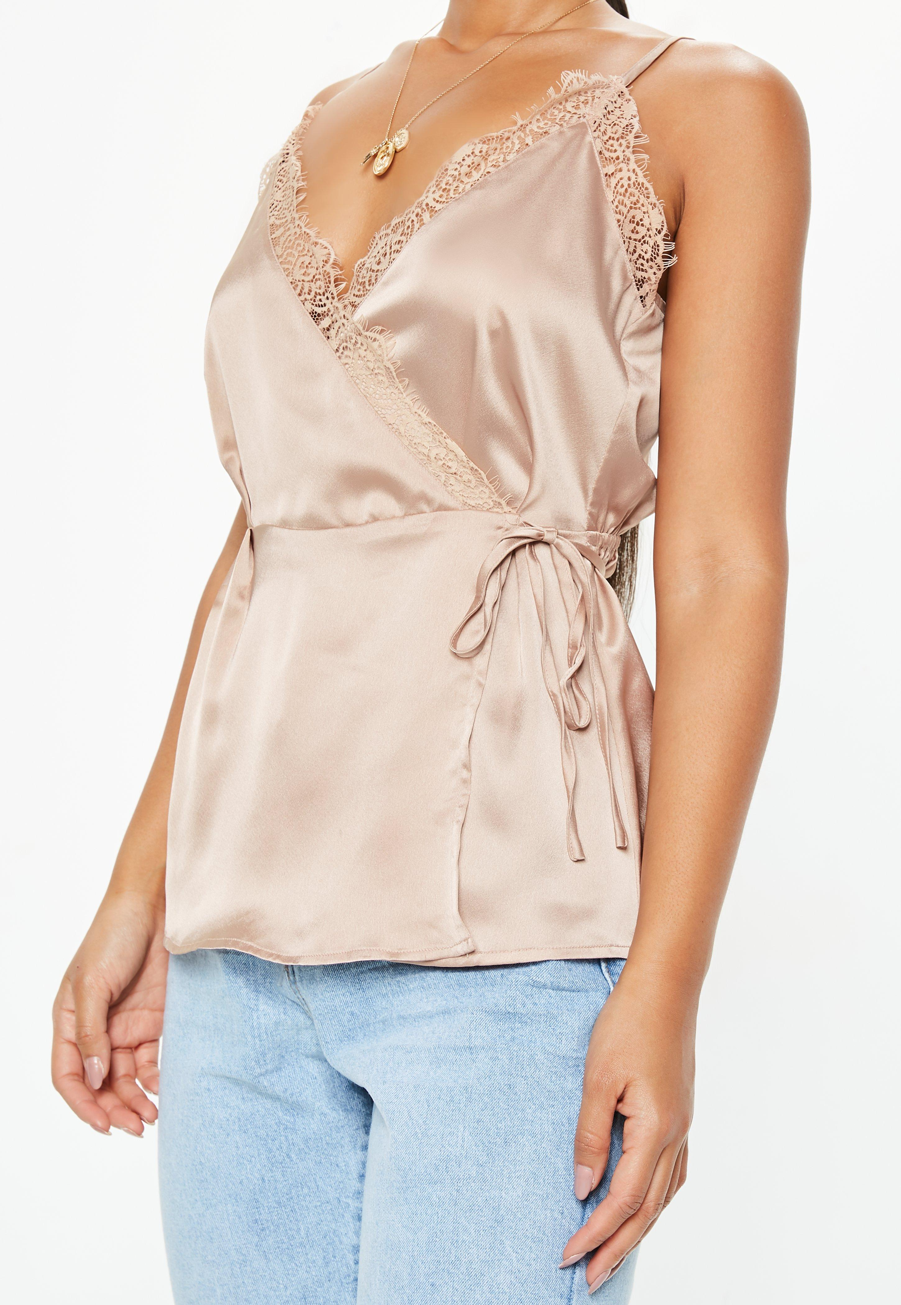 Missguided Eyelash Lace Cami Dress Nude in Natural - Lyst