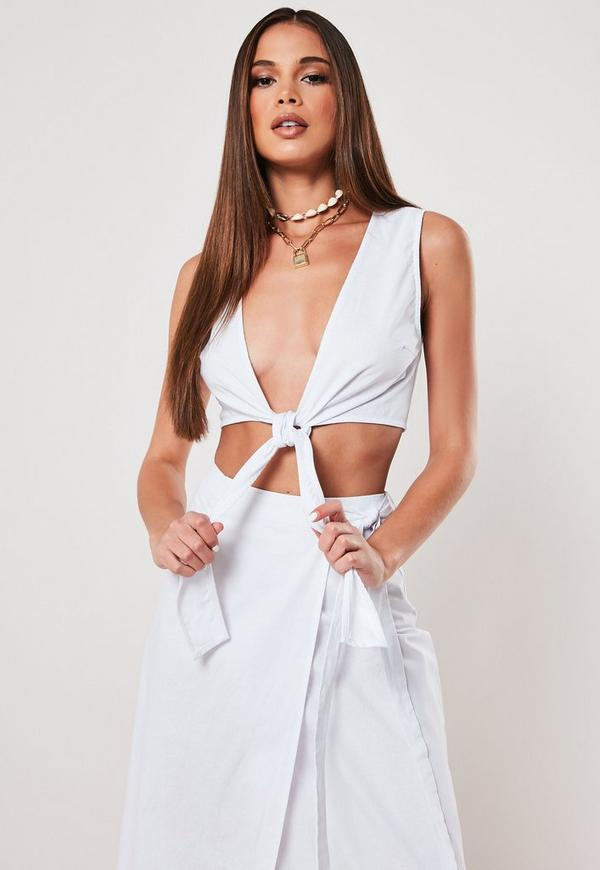 45be5f30ce White Wide Leg Split Beach Trouser | Missguided Australia