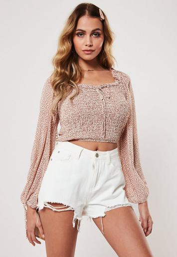 Rust Ditsy Floral Shirred Top by Missguided