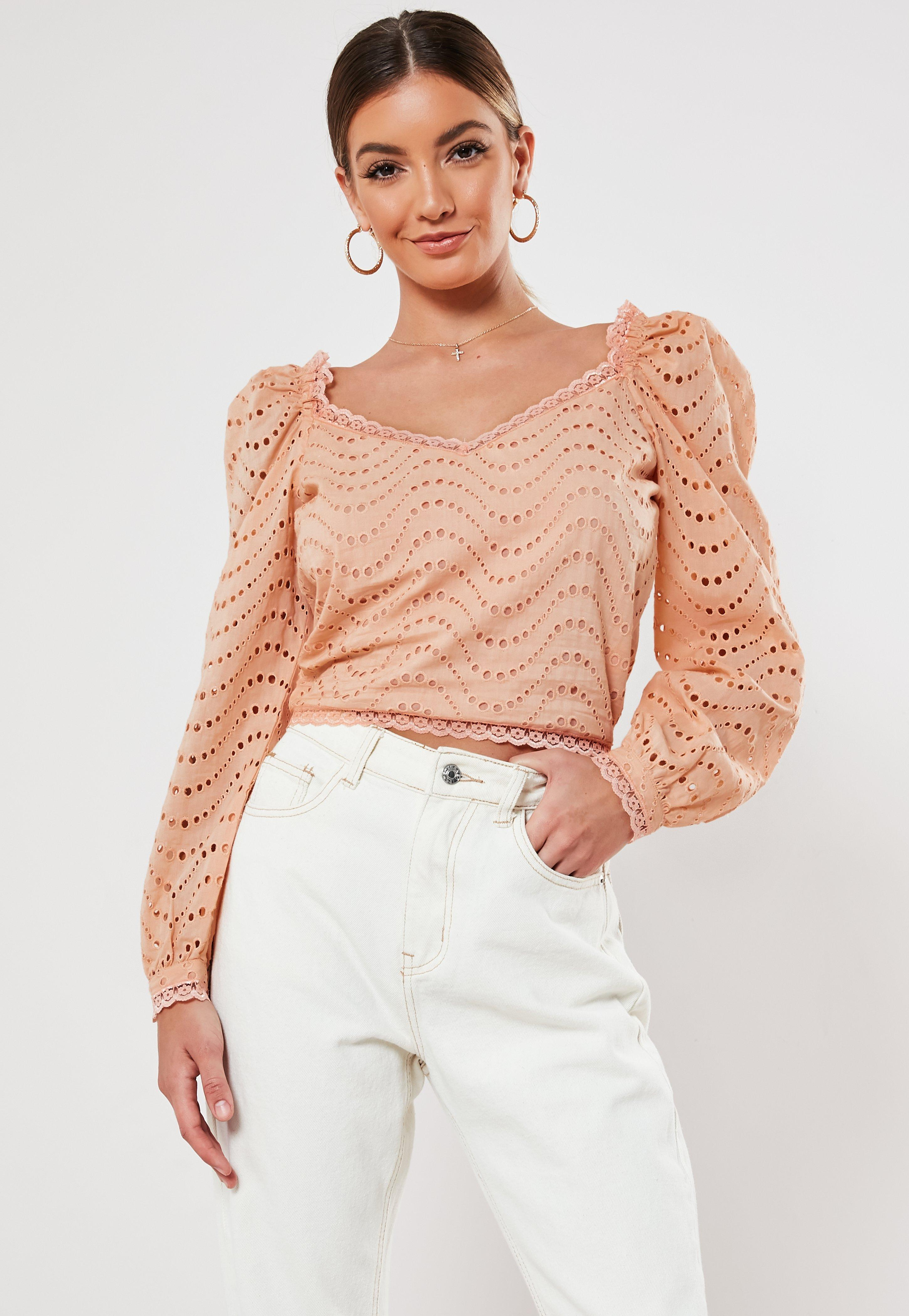 27800f360fa Peach Broderie Anglaise Puff Sleeve Crop Top