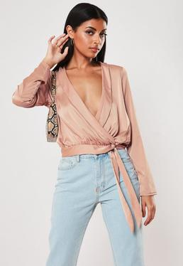ce89fefa0a8337 Black Satin Puff Sleeve Milkmaid Crop Top · Pink Satin Lapel Wrap Blouse