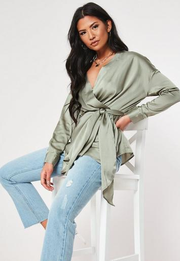 Green Plunge Tie Waist Oversized Satin Blouse by Missguided