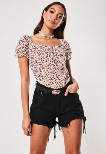 White Floral Milkmaid Bodysuit by Missguided