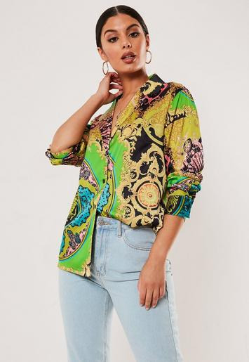Green Scarf Print Pyjama Style Satin Shirt by Missguided
