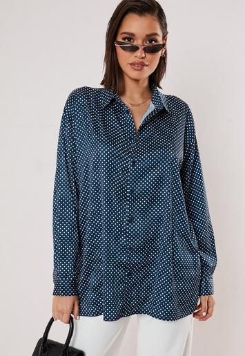 Navy Polka Dot Satin Extreme Oversized Shirt by Missguided