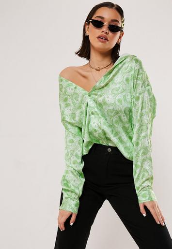 Green Paisley Satin Extreme Oversized Shirt by Missguided