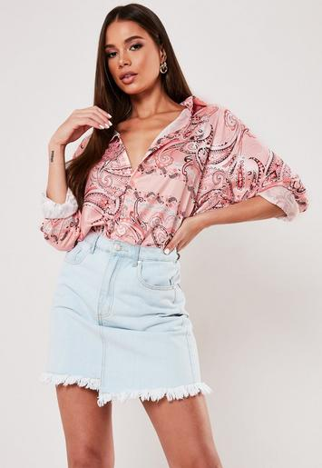 Pink Oversized Paisley Print Satin Shirt by Missguided