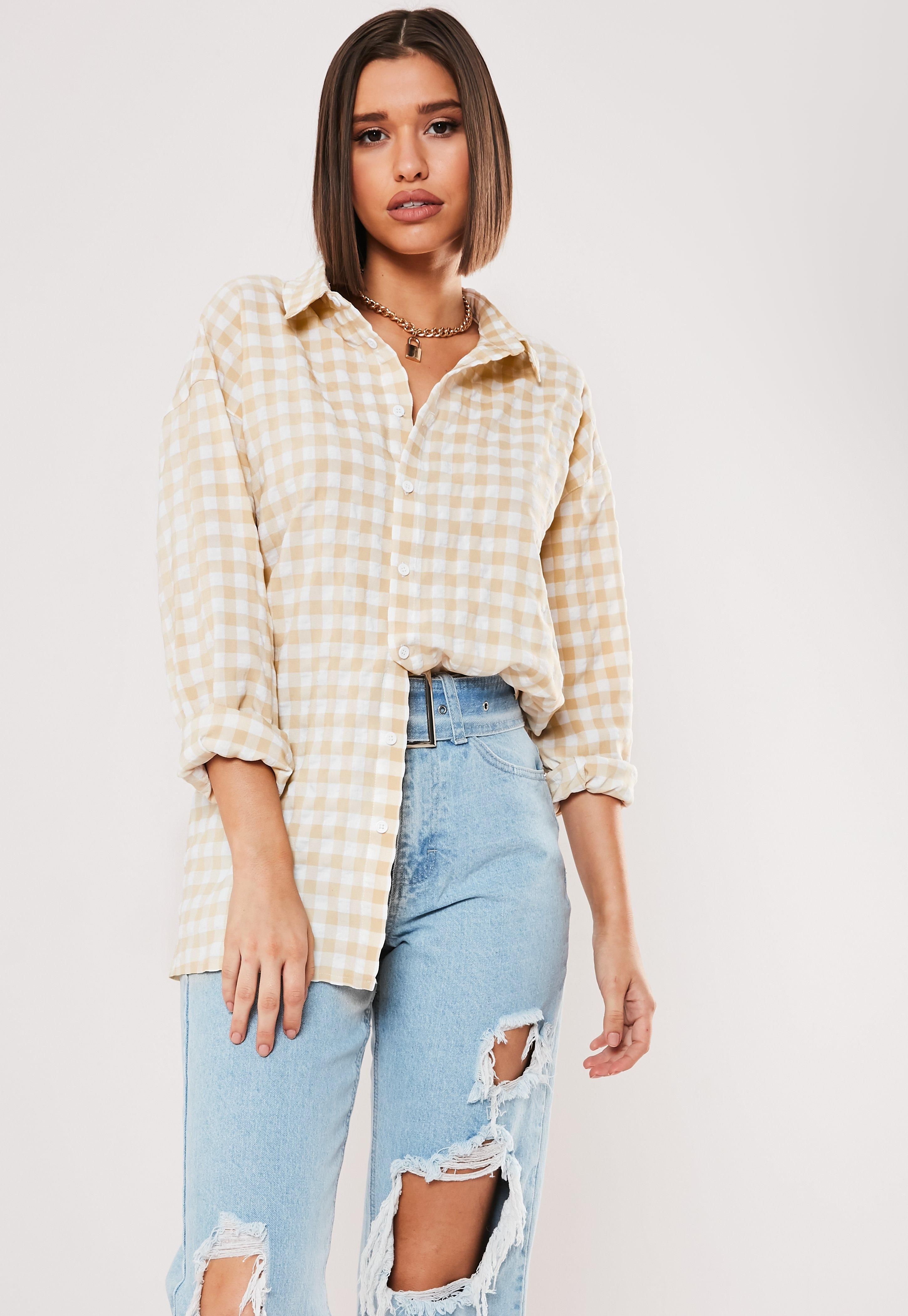 42355e9449 Yellow Gingham Oversized Shirt