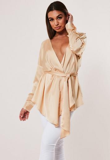 Champagne Satin Tie Waist Blouse by Missguided