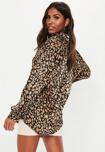 Black Animal Print Satin Oversized Shirt by Missguided