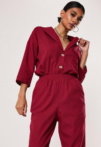 Red Co Ord Linen Look Shirt by Missguided