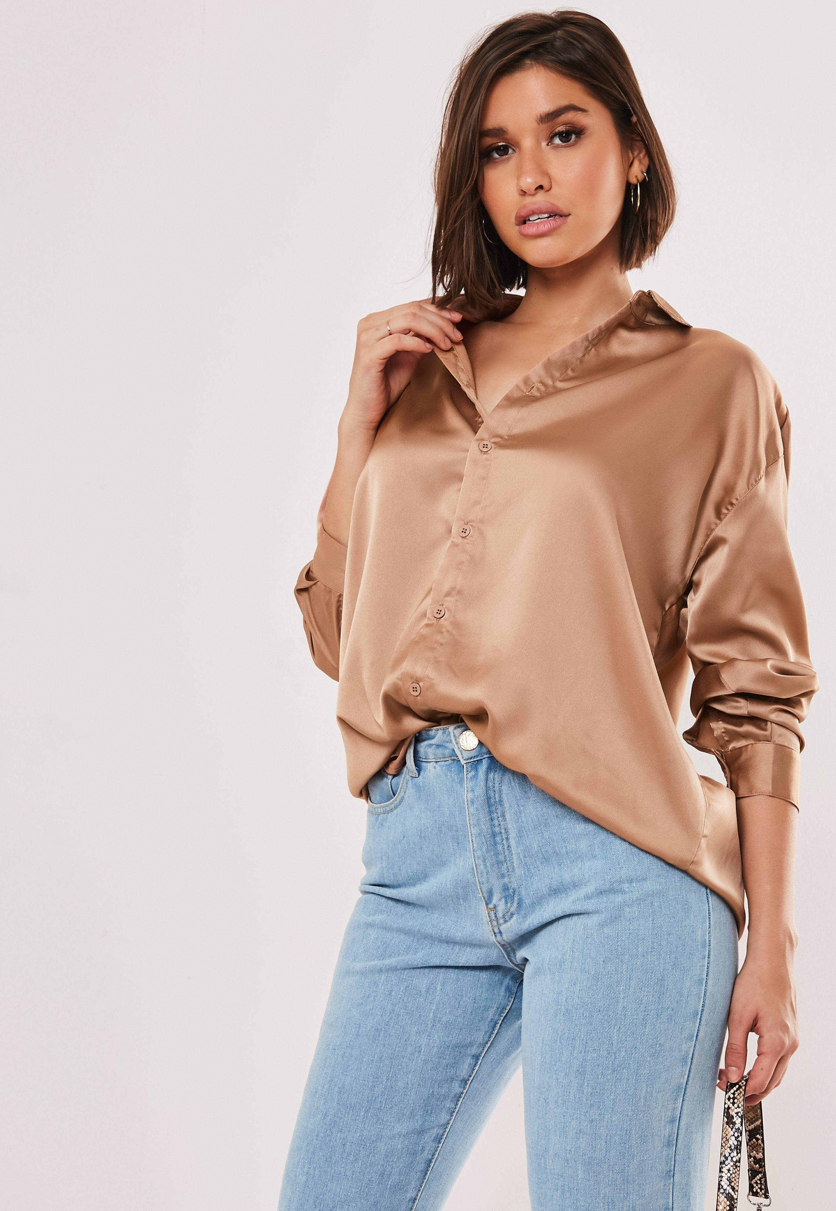 6161a549cdc99 Camel Satin Oversized Shirt