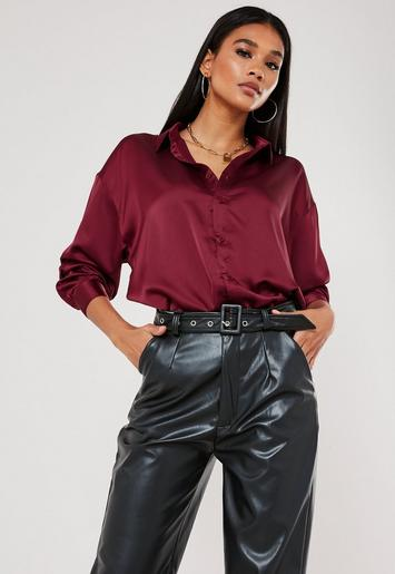 Burgundy Satin Oversized Shirt by Missguided