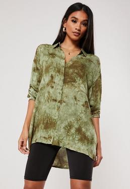 Свободная рубашка Green Tie Dye