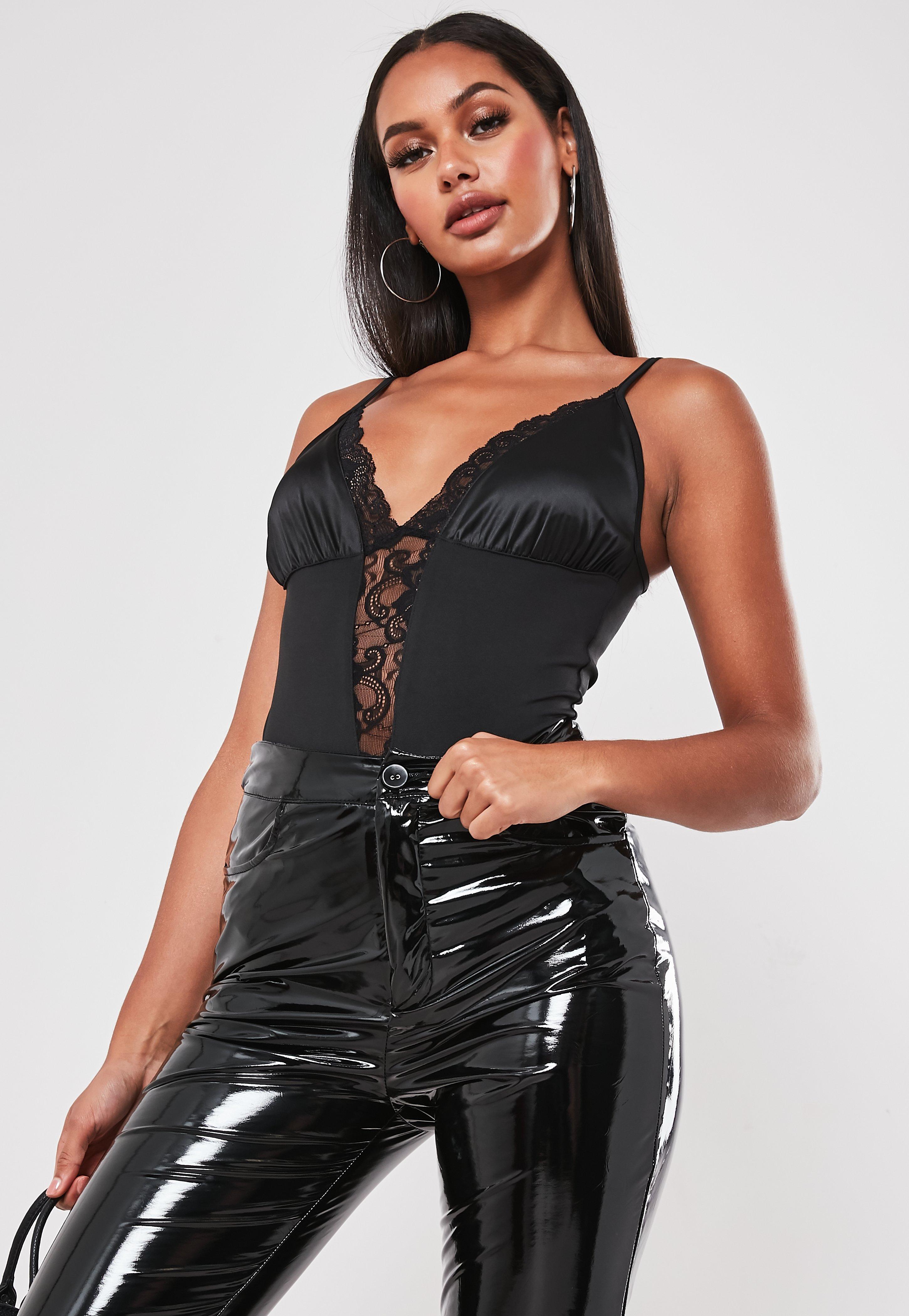 0ca069c99eae Black Lace Trim Strappy Bodysuit