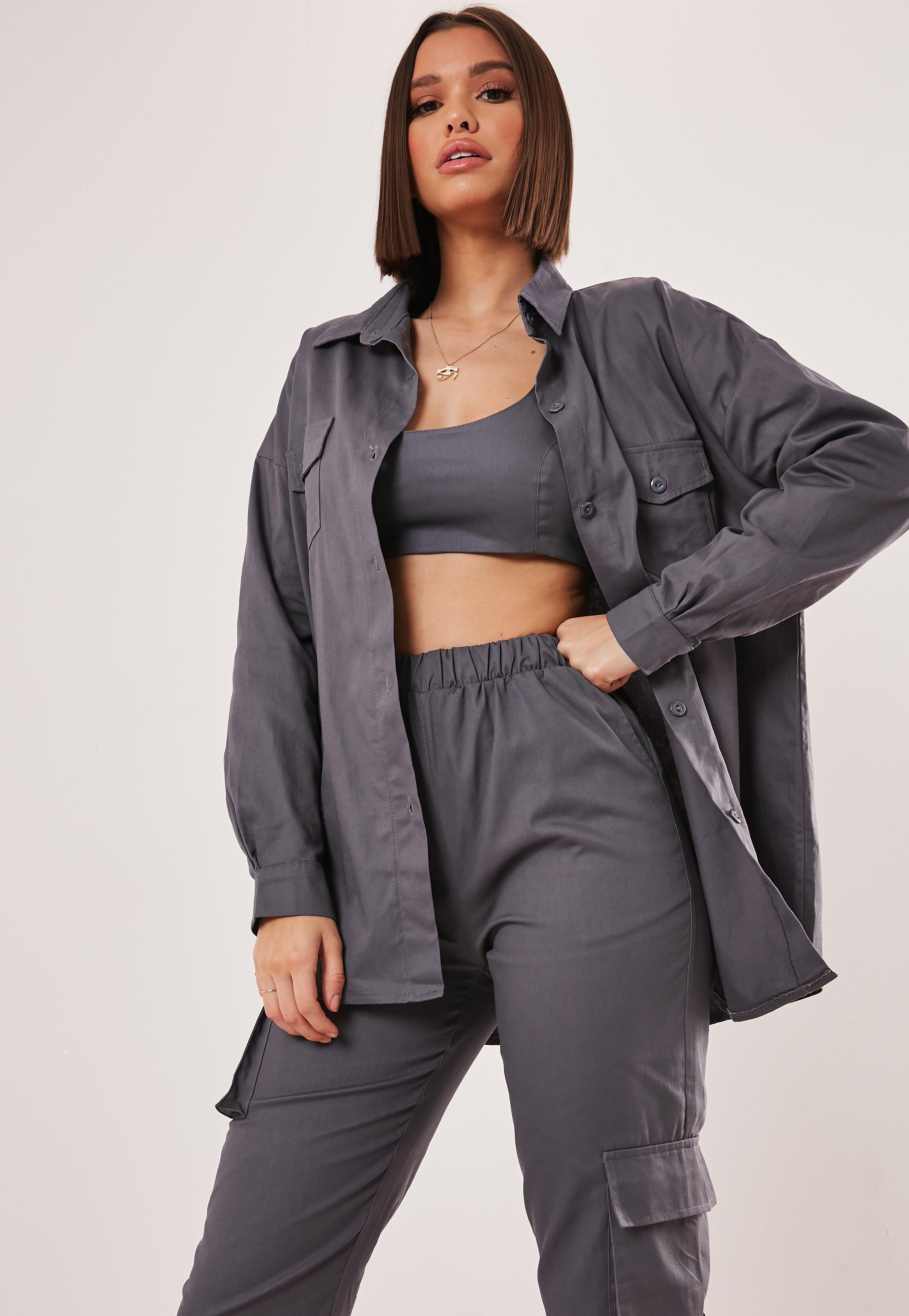 dc47626a85 Grey Co Ord Oversized Shirt