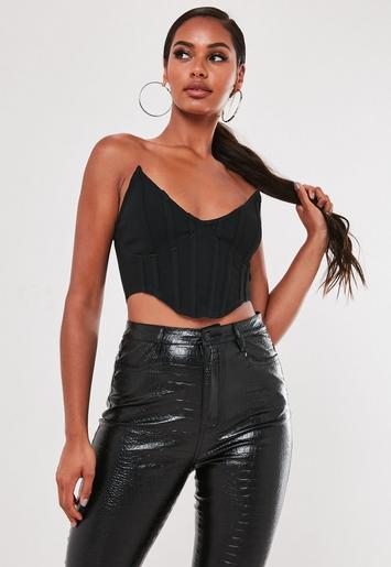 Black High Bust Point Corset Bralet by Missguided