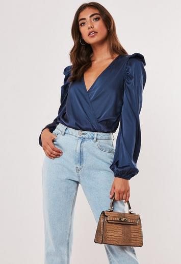 Navy Satin Wrap Over Puff Sleeve Bodysuit by Missguided