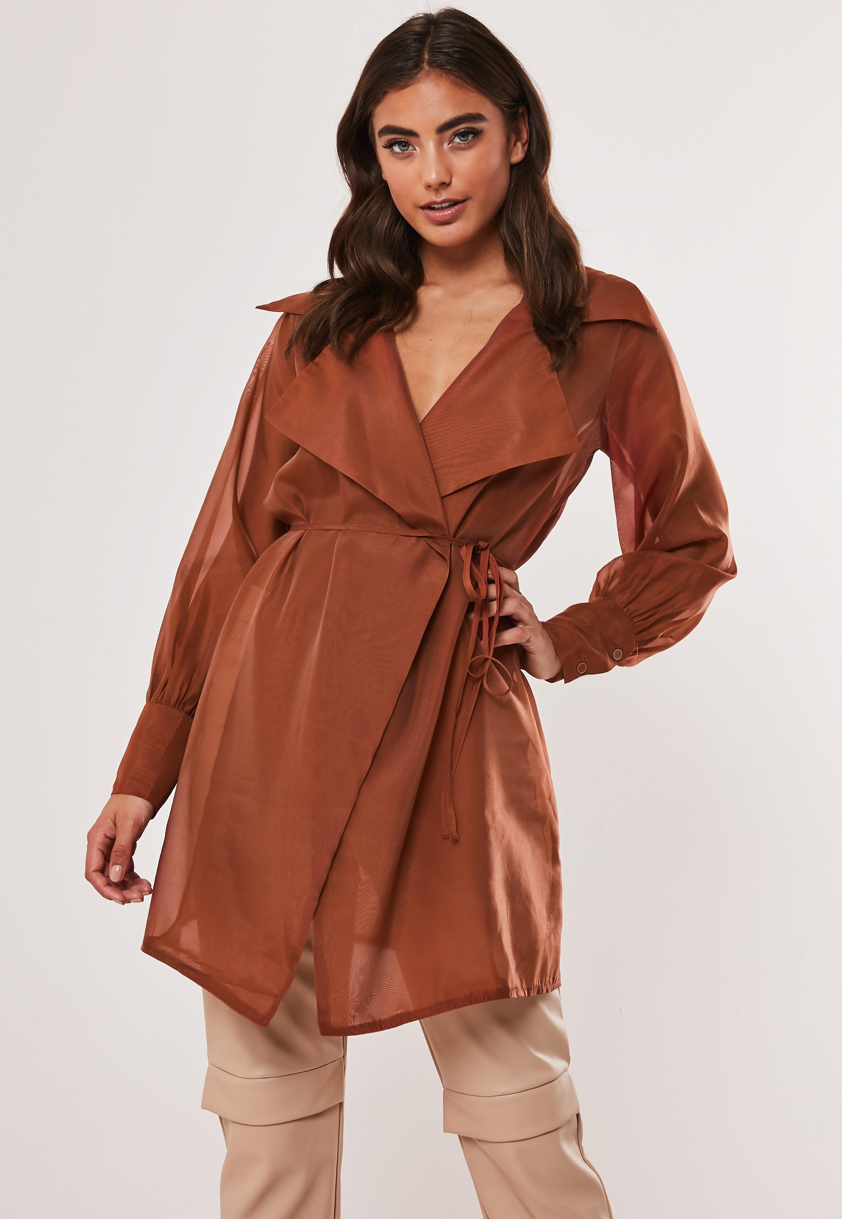 buy best best online select for latest Rust Organza Long Belted Wrap Blouse