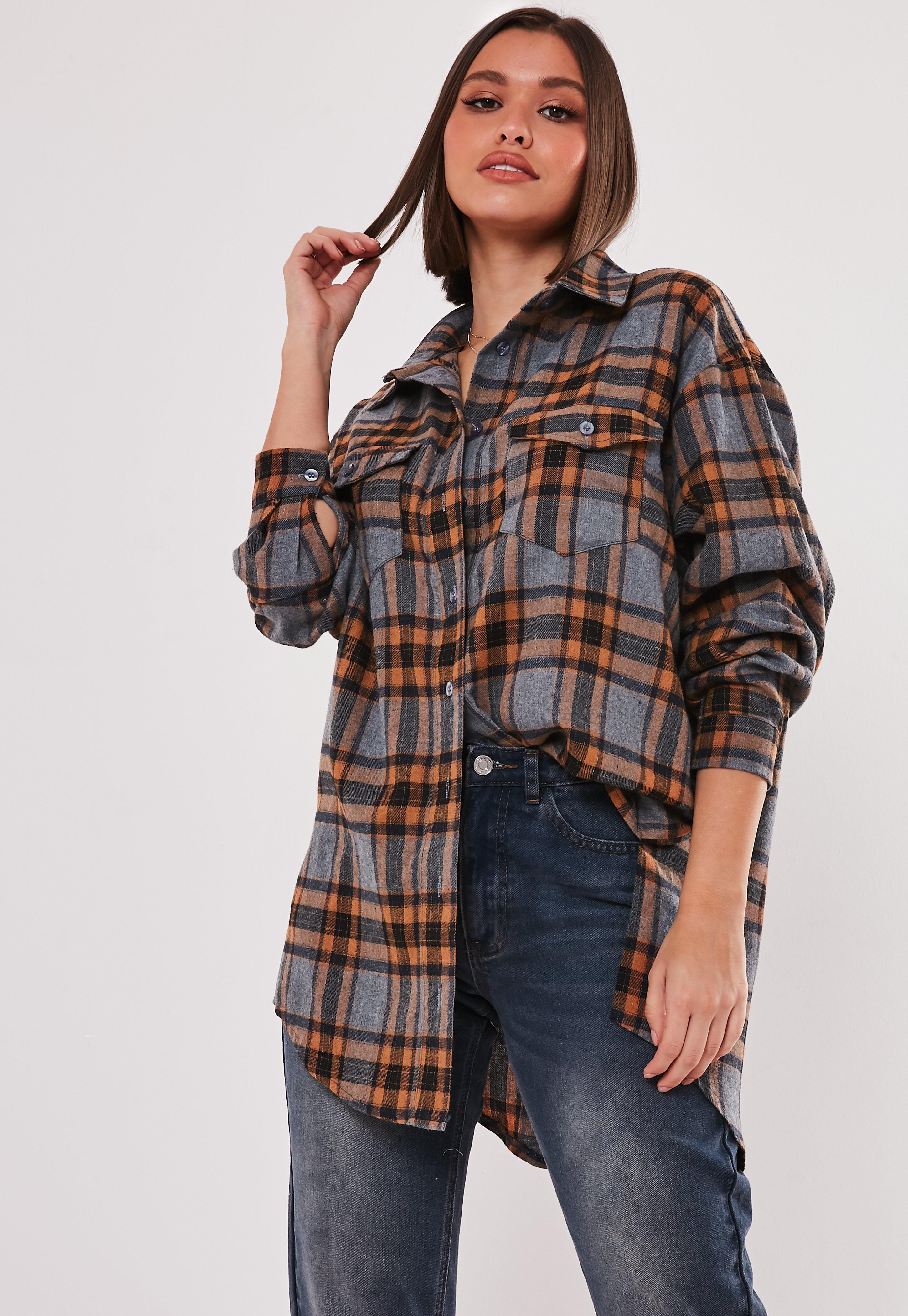 Brown Basic Oversized Plaid Shirt by Missguided