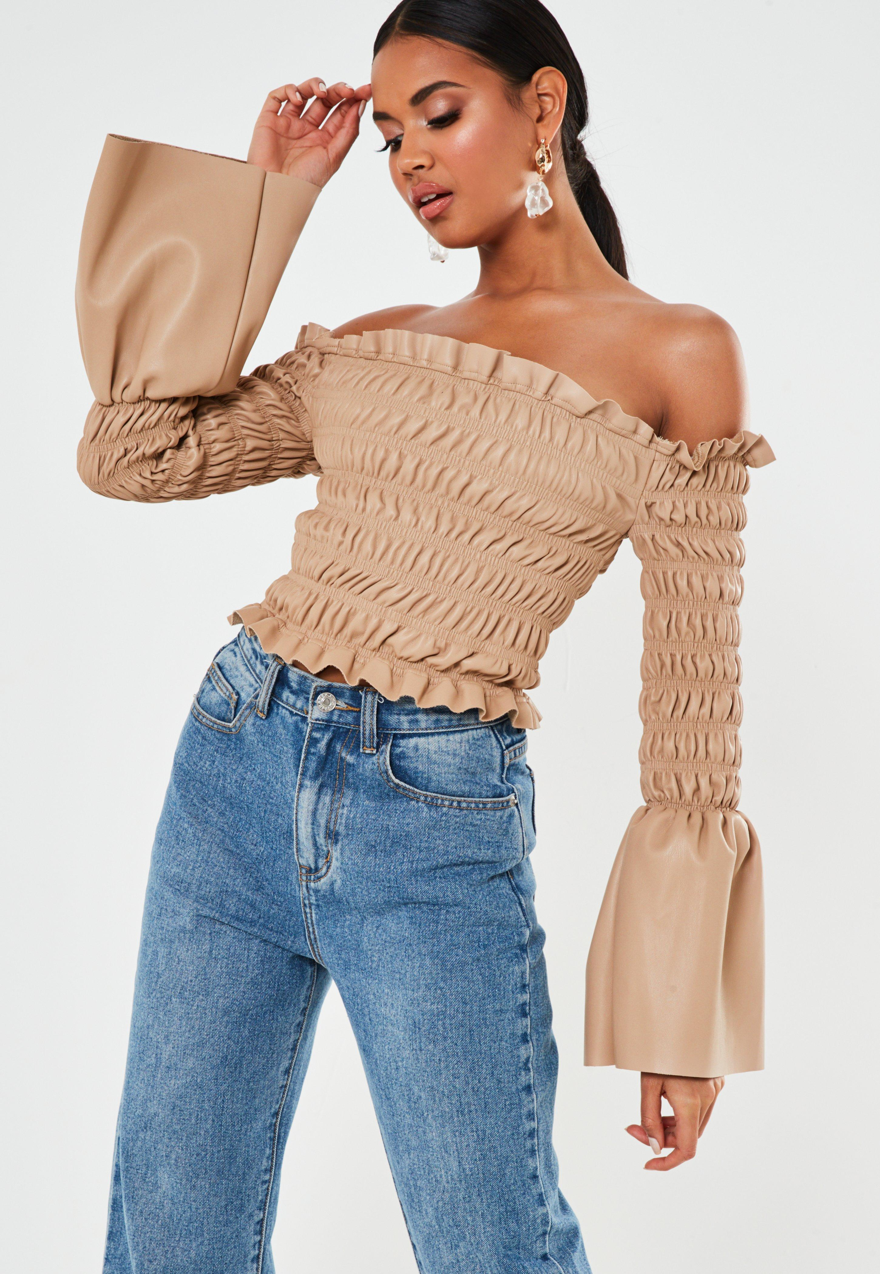 Image result for missguided premium beige faux leather shirred bardot top