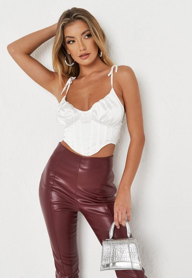 white satin ruched bust corset cami top