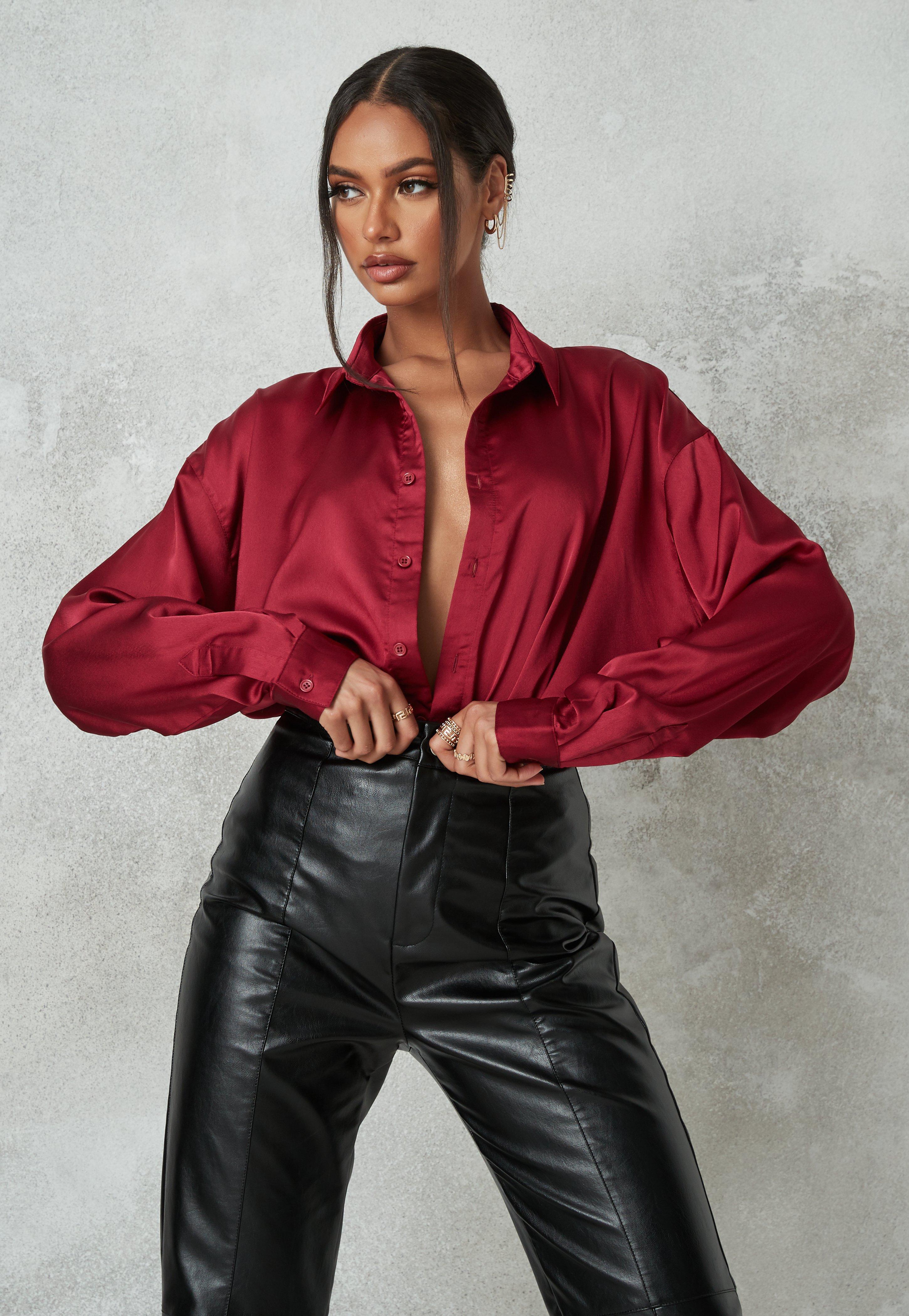 Burgundy Extreme Oversized Satin Shirt | Missguided