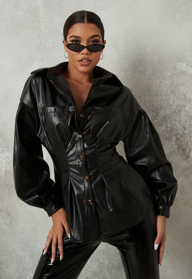 black faux leather corset waist oversized shirt