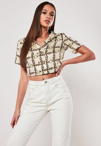 380b4fbcfc Missguided - Cream Chain Print Cropped Shirt