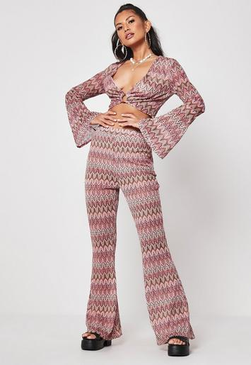 Rust Co Ord Zig Zag Printed Flared Trousers by Missguided
