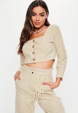 Nude Co Ord Cord Button Front Crop Top d6d5deaac244