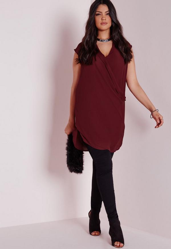 Plus Size Wrap Front Chiffon Top Burgundy