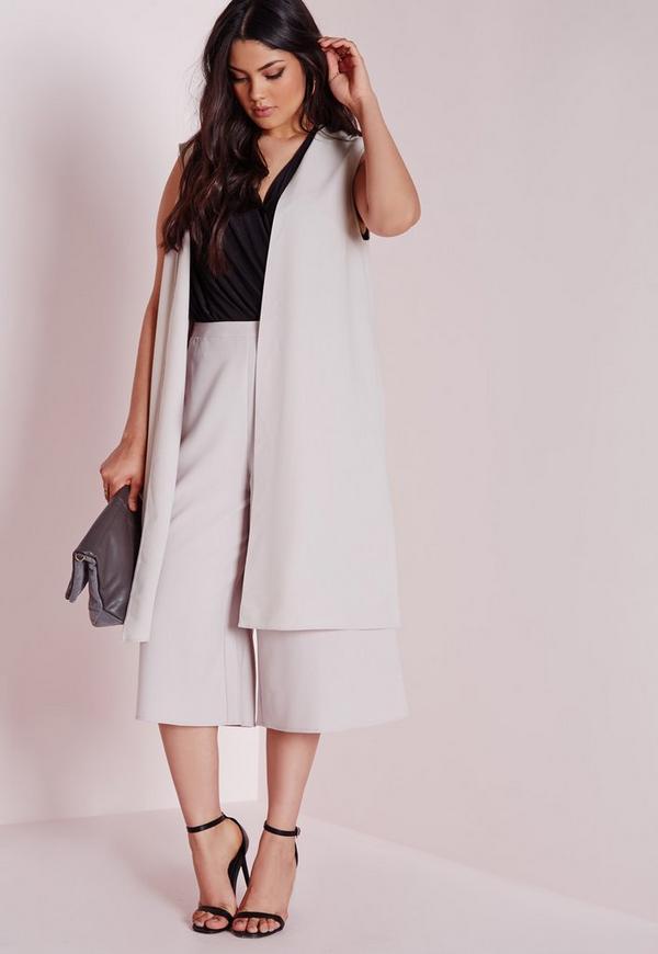 Plus Size Longline Waistcoat With Splits Grey