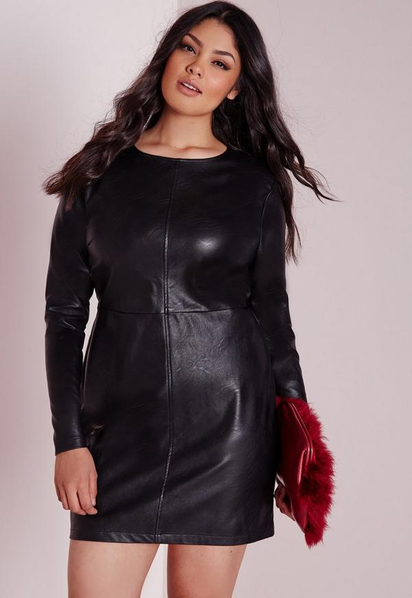 Plus Size Faux Leather Mini Dress Black