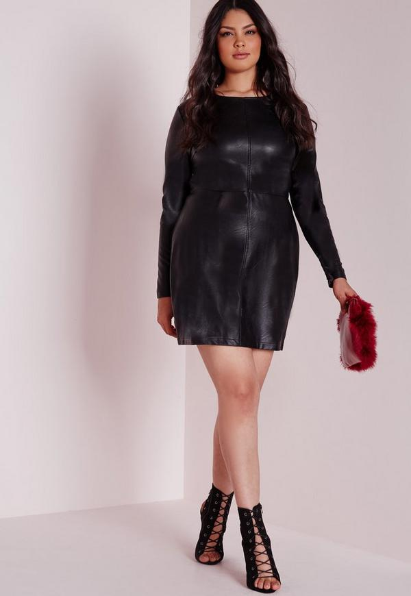 Plus Size Faux Leather Mini Dress Black - Plus Size - Plus Size ...