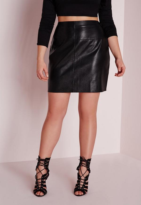 plus size faux leather mini skirt black missguided