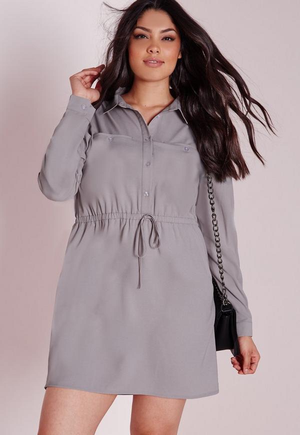 Plus Size Drawstring Waist Shirt Dress Grey