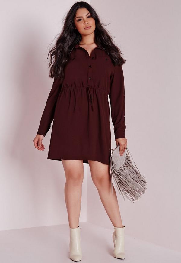 Plus Size Drawstring Waist Shirt Dress Burgundy