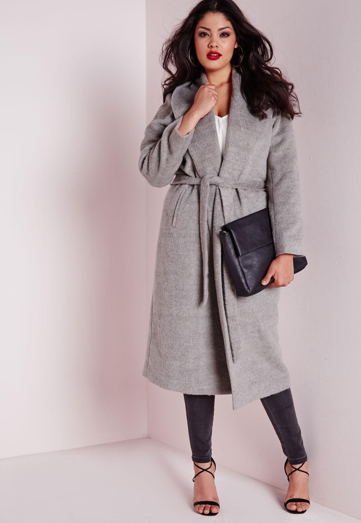 Plus Size Belted Wool Coat Grey - Missguided