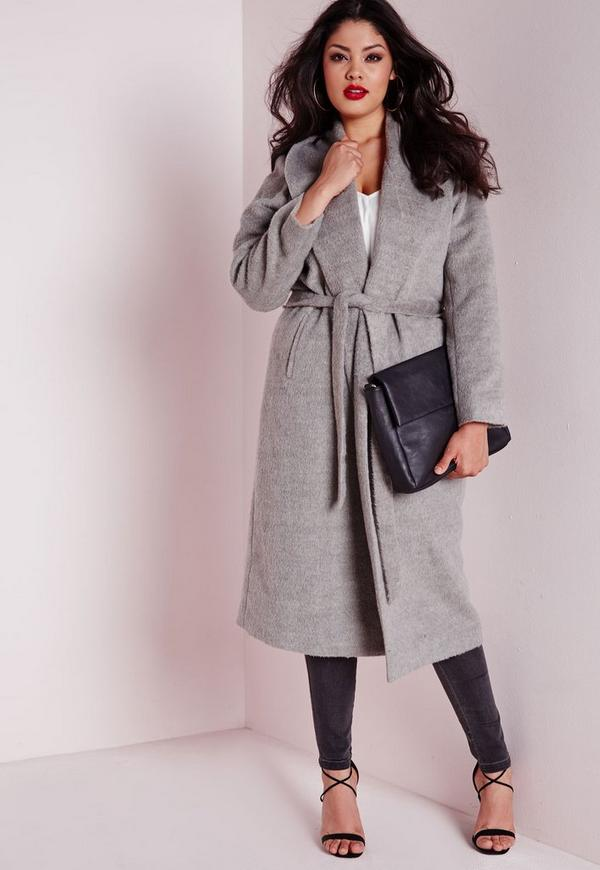 Plus Size Belted Wool Coat Grey