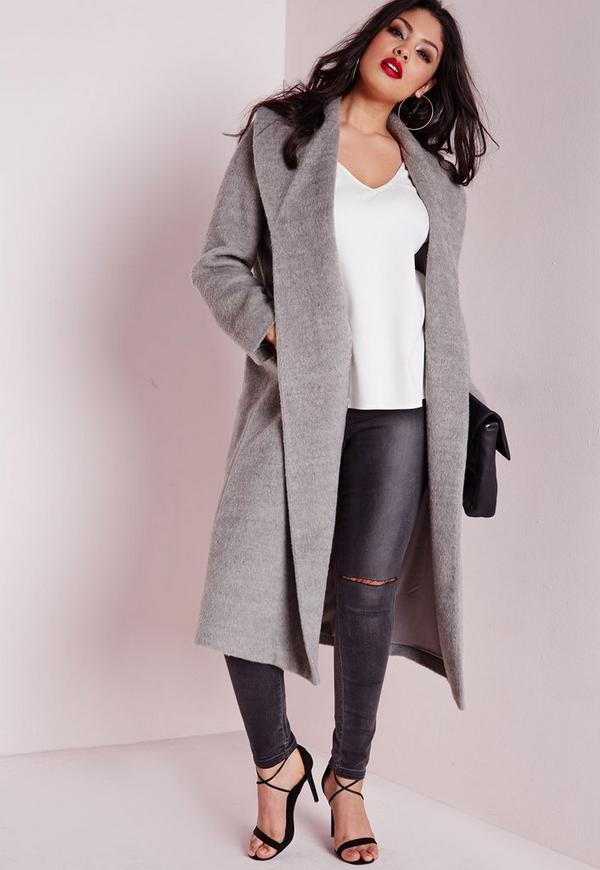 Plus Size Belted Wool Coat Grey | Missguided