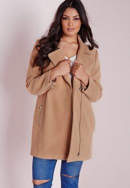 Plus Size Biker Coat Camel
