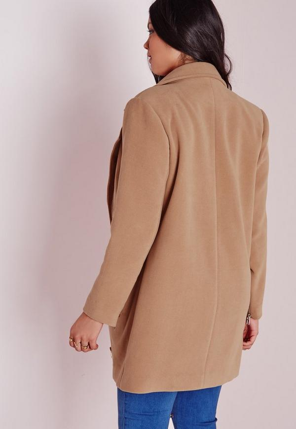 manteau biker grande taille camel missguided. Black Bedroom Furniture Sets. Home Design Ideas