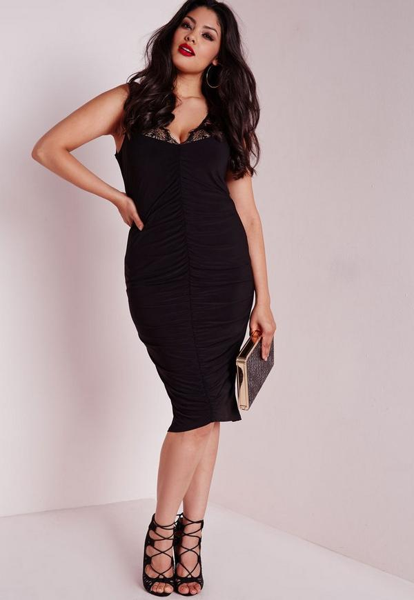Plus Size Slinky Lace Ruched Dress Black