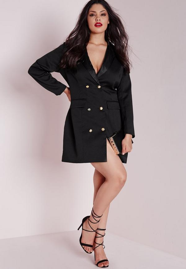 plus size tuxedo satin collar dress black