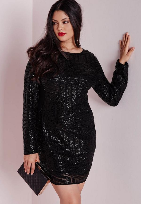 Plus Size Sequin Mesh Mini Dress Black