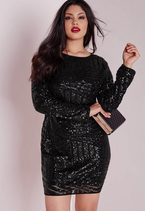 Plus Size Sequin Mesh Mini Dress Black | Missguided