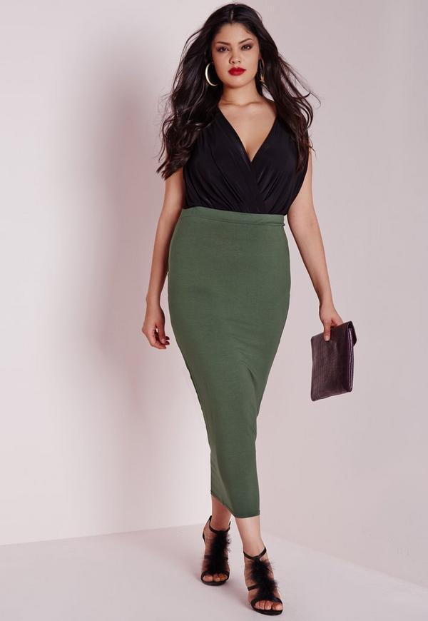 Plus Size Jersey Midi Skirt Khaki