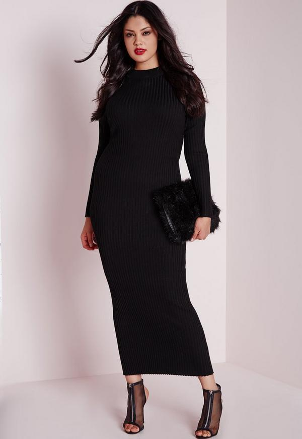 Plus Size Maxi Knitted Rib Dress Black
