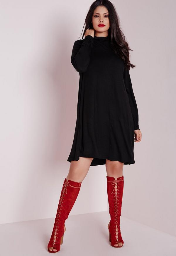 Plus Size Jersey Swing Dress Black